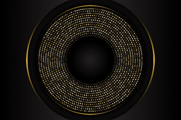 Luxury black circle shape background with combination glowing golden dots
