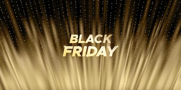 Роскошный черный фон пятницы с золотом и черным