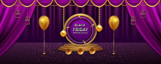Decorazione di sconto vendita banner venerdì nero di lusso con oggetti realistici podio palla d'oro