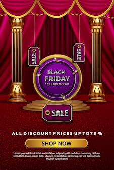 Luxury black friday discount promotion banner