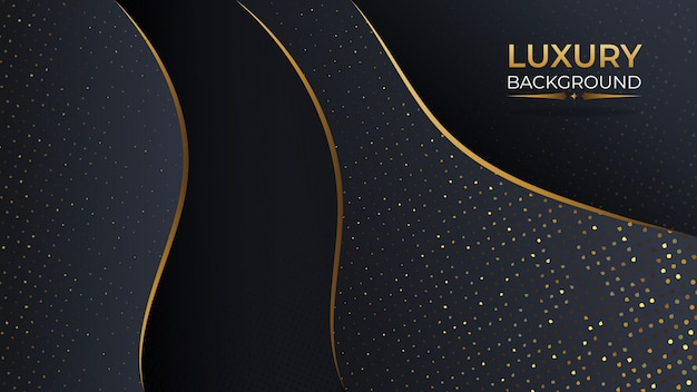 Luxury black gold abstract background with overlap layer