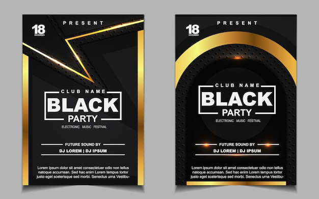 Luxury black and gold night dance party music flyer or poster design