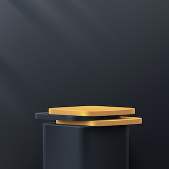 Luxury black and gold round corner cube pedestal podium in black wall scene abstract   rendering 3d shape
