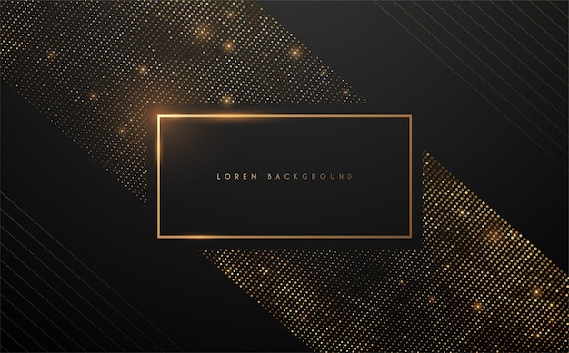 Luxury black and gold square background