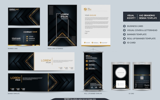 Luxury black gold stationery branding set and visual brand identity with abstract overlap layers
