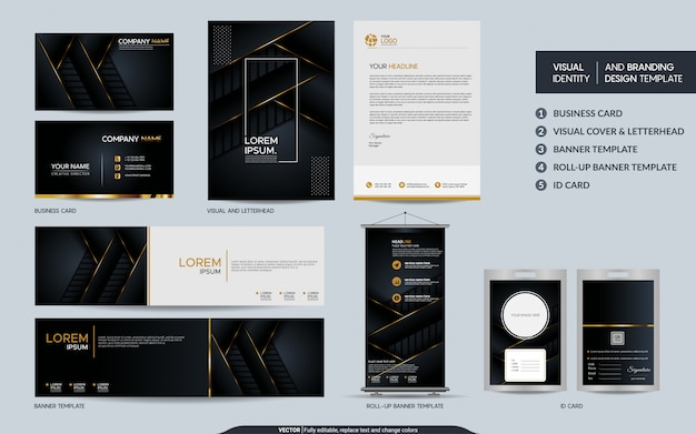 Luxury black gold stationery set and visual brand identity with abstract overlap layers background