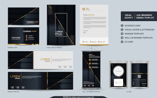 Luxury black gold stationery  set and visual brand identity with abstract overlap layers background.