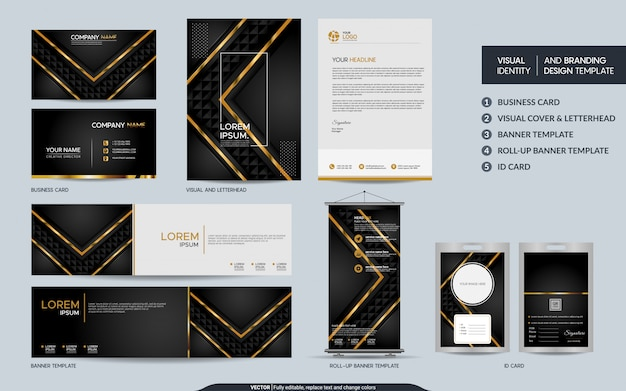 Luxury black gold stationery set