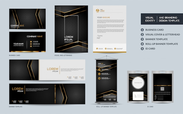 Luxury black gold stationery template set and visual brand identity with abstract overlap layers .