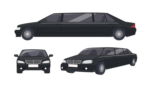 Роскошный черный лимузин, изолированные на белом фоне