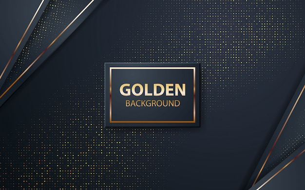 Luxury black overlap layers background with golden glitters