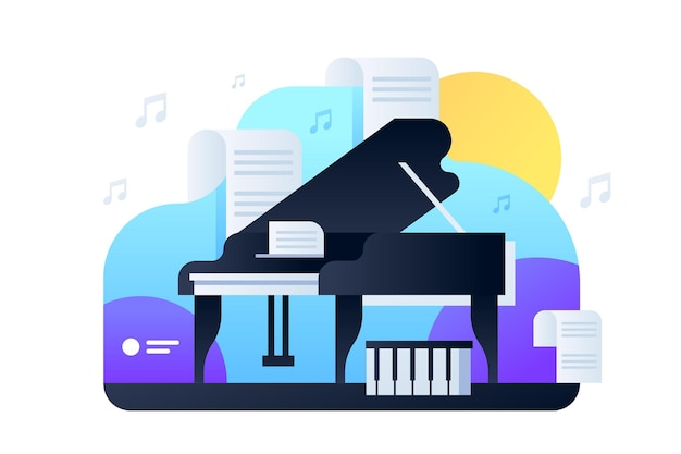 럭셔리 블랙 피아노 그림입니다. 무대 평면 스타일에 악기. 유명한 작곡의 악보. 콘서트 그랜드. 취미 개념. 외딴