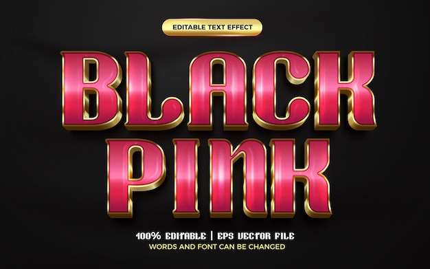 Luxury black pink gold 3d editable text effect style template