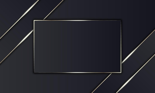 Luxury black stripes and golden line with rectangle in the middle. design for banner.