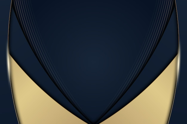 Luxury blue and golden curved stripes background with lines. vector illustration.