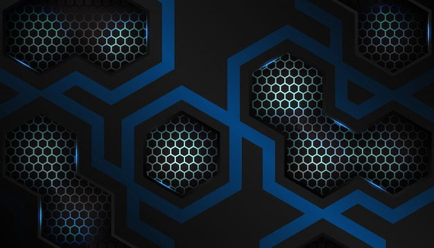 Luxury blue hexagon sport background