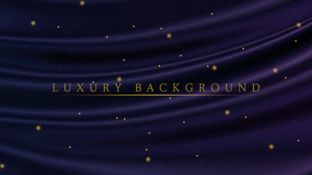 Luxury blue and purple background with golden glitter sparkles for awarding or ceremony