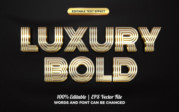 Роскошный смелый серебряный золотой 3d редактируемый шаблон стиля текста с эффектом текста