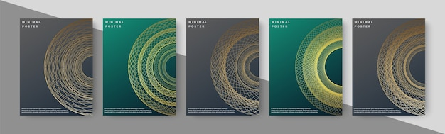 Luxury book cover with abstract line geometry