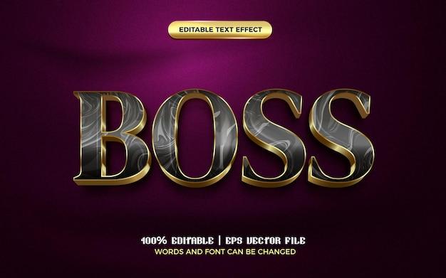 Luxury boss black gold modern 3d editable text effect