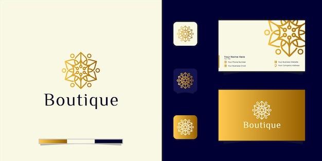 Роскошный бутик с цветочным логотипом. дизайн логотипа и визитная карточка