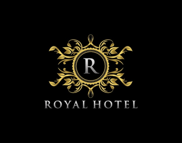 Luxury boutique r letter logo letter stamp boutique  hotel heraldic jewelry wedding