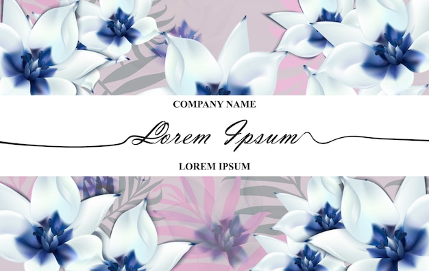 Luxury brand card with realistic blue flowers. abstract composition modern designs backgrounds
