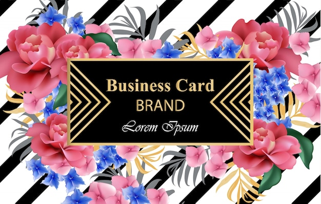 Luxury brand card with realistic flowers. abstract composition modern designs backgrounds