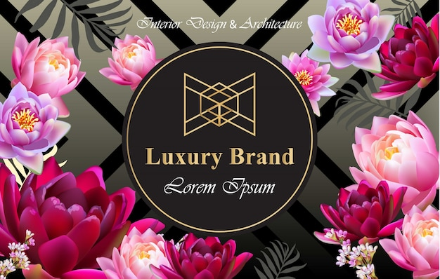 Luxury brand card with realistic flowers vector. abstract composition modern designs backgrounds