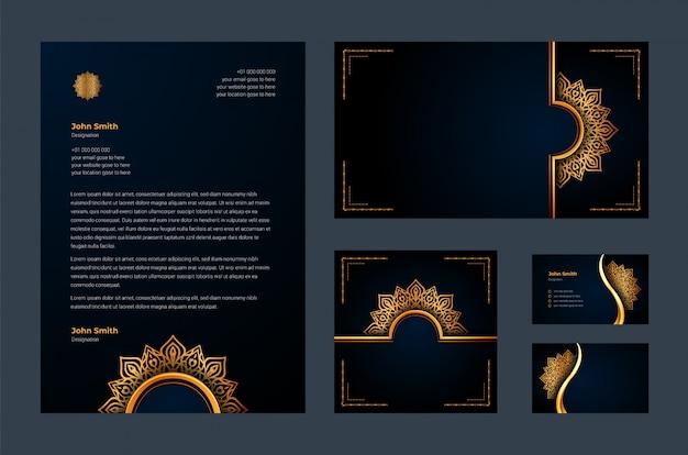 高級ブランドアイデンティティまたは高級装飾マンダラアラベスク、名刺、レターヘッド、豪華な背景を持つ静止したデザインテンプレート
