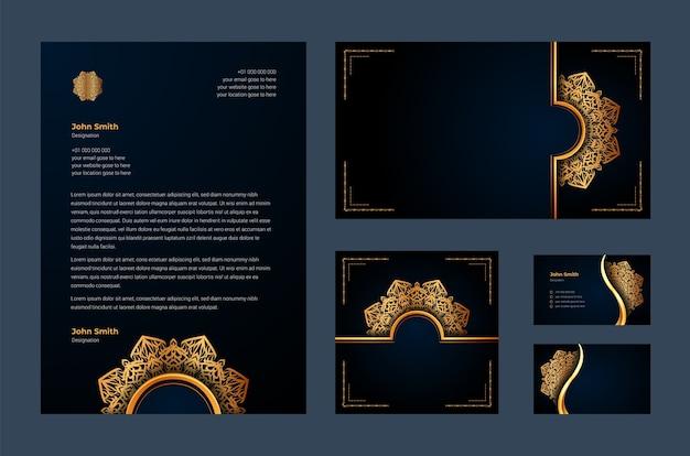 豪華な装飾用マンダラアラベスク、名刺、レターヘッド付きの豪華なブランドアイデンティティまたは文房具のデザインテンプレート