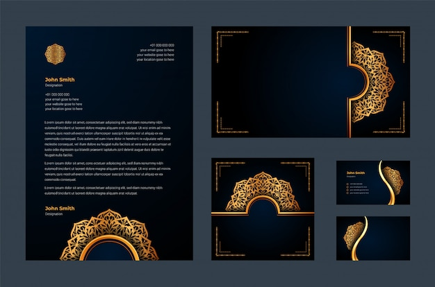 Luxury brand identity or stationary design template with luxury ornamental mandala arabesque