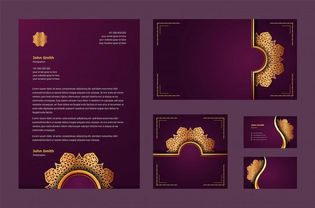 Luxury brand identity or stationary design template with luxury ornamental mandala arabesque