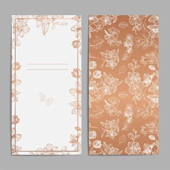 豪華なブラウンゴールドの花のウェディングカードの招待状グリーティングカード