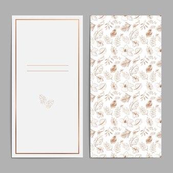 豪華なブラウンゴールドの花のウェディングカードの招待状