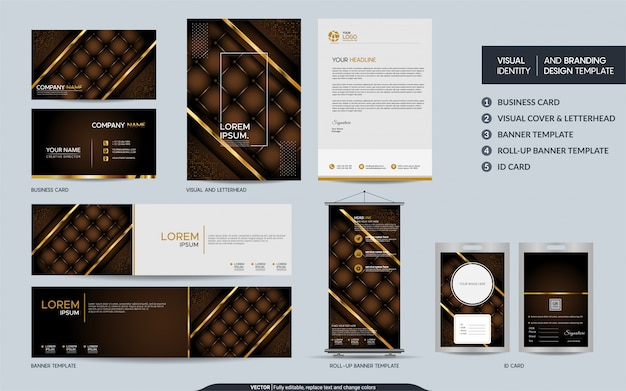 Luxury brown stationery mock up set and visual brand identity with abstract overlap layers background.