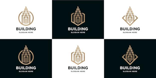 Набор роскошных зданий с логотипами