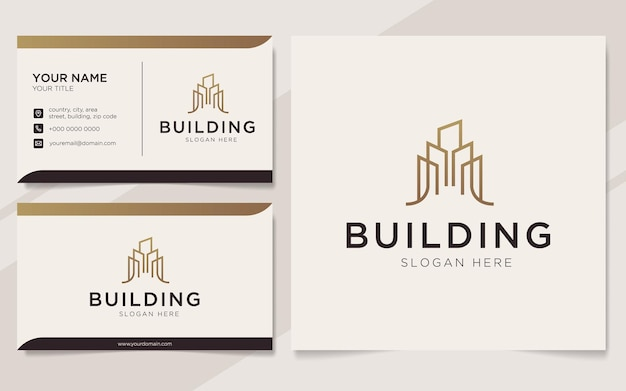 Luxury building logo and business card template