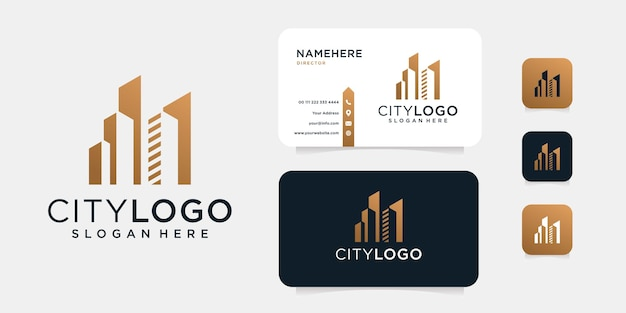 Luxury building logo design with business card template.