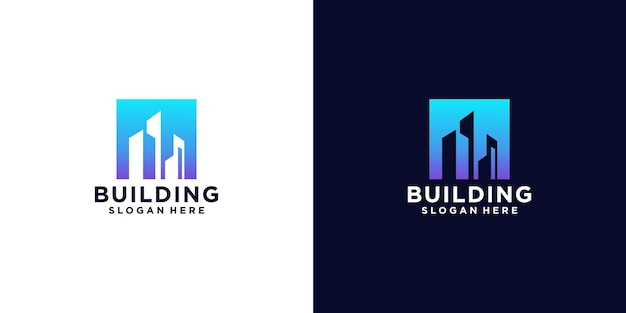 Luxury building logo with square