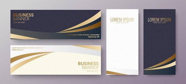 Luxury business banner with wave design
