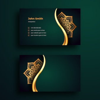 Luxury business card design template with luxury ornamental mandala arabesque background