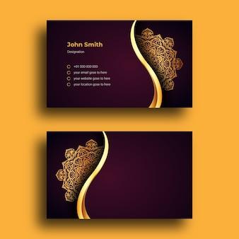Роскошный шаблон дизайна визитной карточки с роскошным декоративным фоном арабески мандала