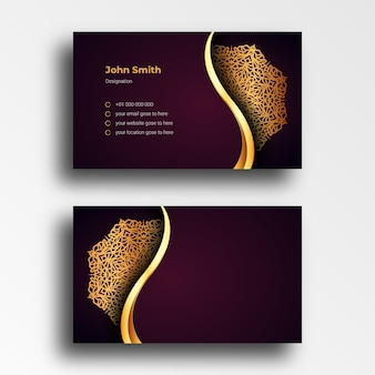 Luxury business card design template with luxury ornamental mandala arabesque background