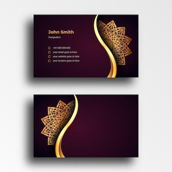 Шаблон дизайна визитной карточки класса люкс с роскошной декоративной мандалой арабески