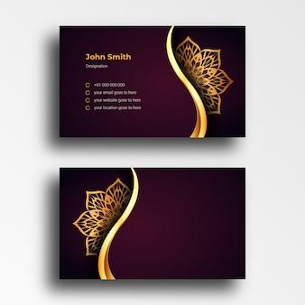 豪華な装飾的なマンダラと豪華な名刺デザインテンプレート
