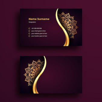 Luxury business card design template with luxury ornamental mandala