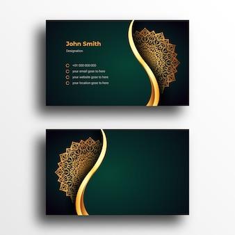 Шаблон дизайна визитной карточки класса люкс с роскошной декоративной мандалой