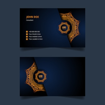 Luxury business card design with golden arabesque mandala background
