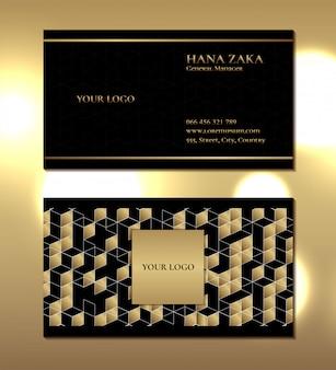 Шаблон роскошной визитки с геометрическим рисунком